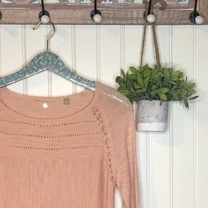 Anthropologie Knitted & Knotted Pink Sweater M